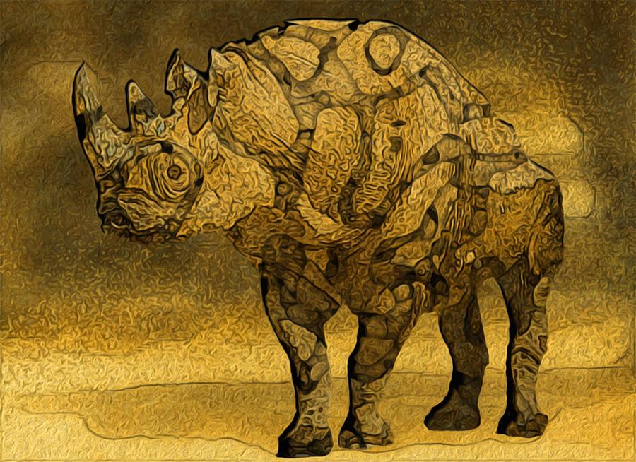 Rhino Painting - Rhino - Abstract by Jack Zulli