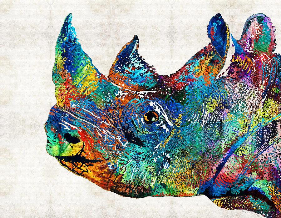 Rhinoceros Painting - Rhino Rhinoceros Art - Looking Up - By Sharon Cummings by Sharon Cummings