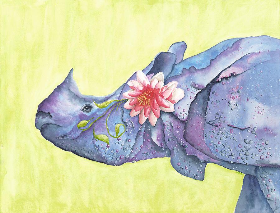 Rhino Painting - Rhino Whimsy by Mary Ann Bobko