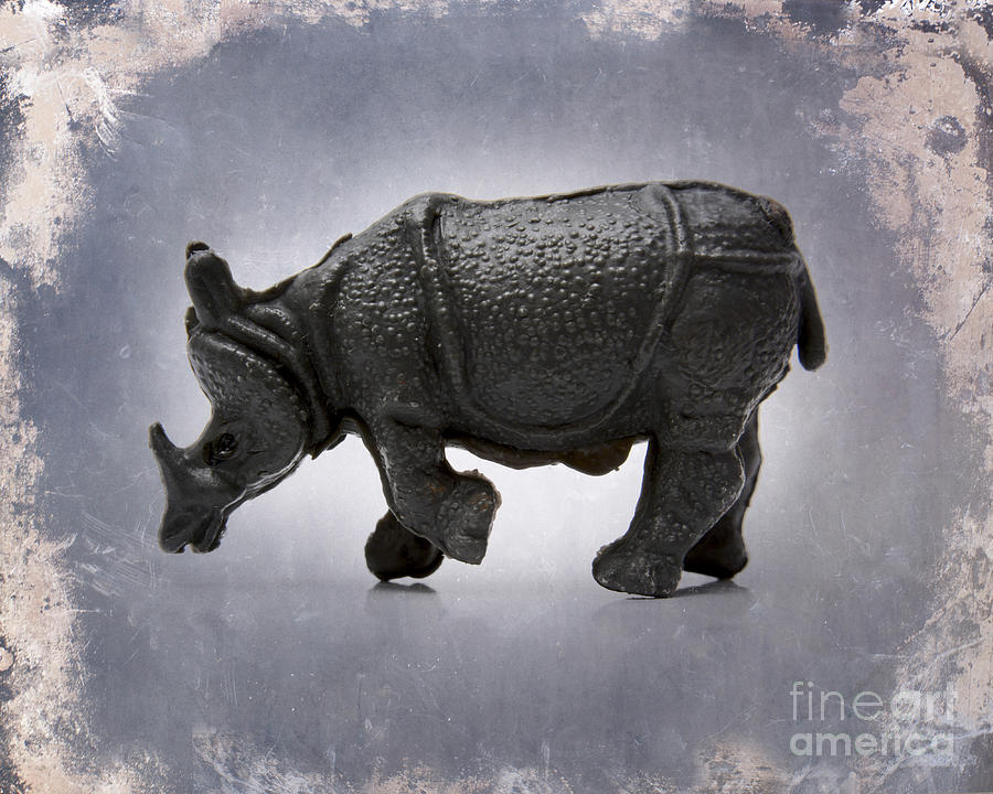 Animal Representation    Auto Post Production Filter    Color Image    Craft    Figurine    France    Gray Background    Horizontal    No People    Photography    Rhinoceros    Single Object    Studio Shot    Textured Effect    Toy Animal    Wildlife Photograph - Rhinoceros by Bernard Jaubert