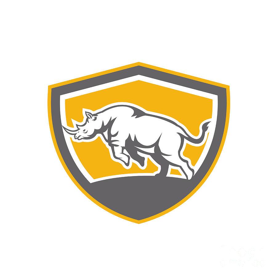 Rhinoceros Digital Art - Rhinoceros Charging Side Shield Retro by Aloysius Patrimonio