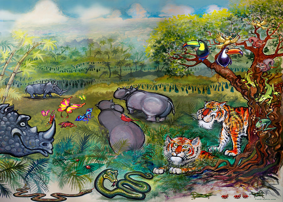 Rhinos Hippos Tigers And Snakes Painting