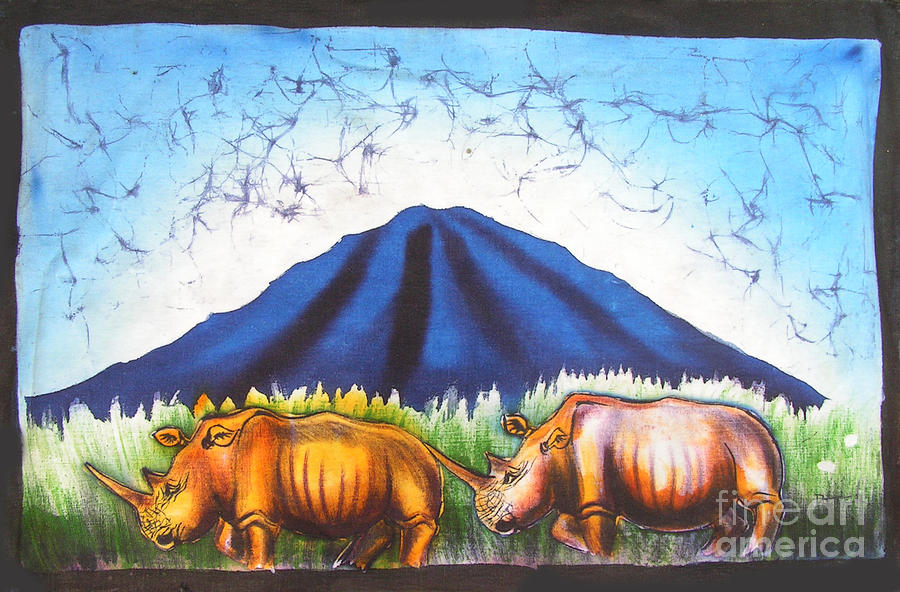 Animals African Painting - Rhinos On The Mountainside by Peter Mkoweka
