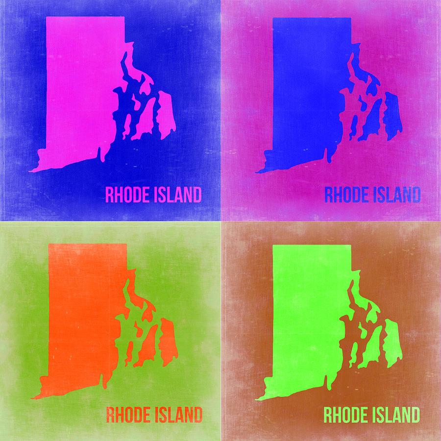 Rhode Island Painting - Rhode Island Pop Art Map 2 by Naxart Studio