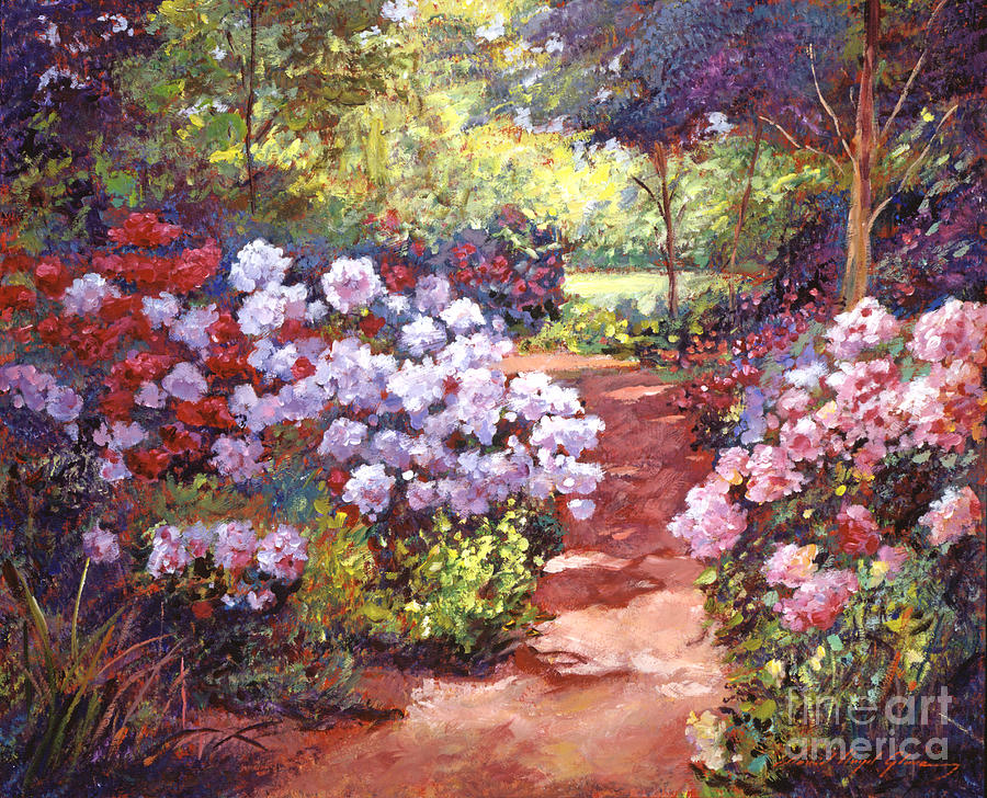 Gardenscapes Painting - Rhododendron Stroll by David Lloyd Glover