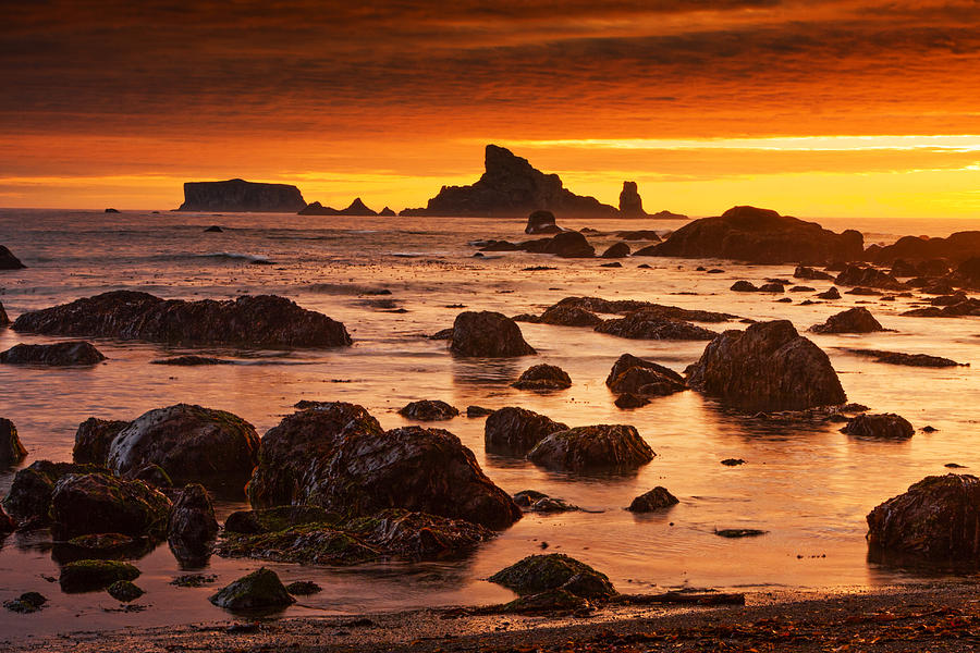 Calm Photograph - Rialto Beach Sunset Symphony by Mark Kiver