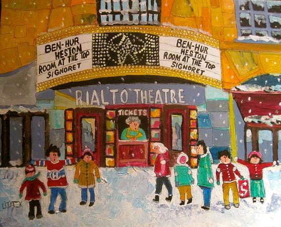 Hockey Sweaters Painting - Rialto Theatre 1960 by Michael Litvack