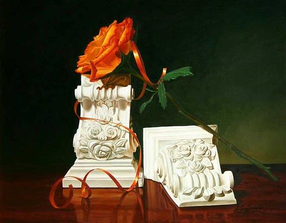 Floral Painting - Ribbon And Roses by Gary  Hernandez