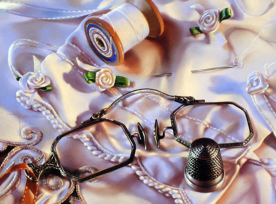 Still Life Painting - Ribbon Rosettes by Dianna Ponting