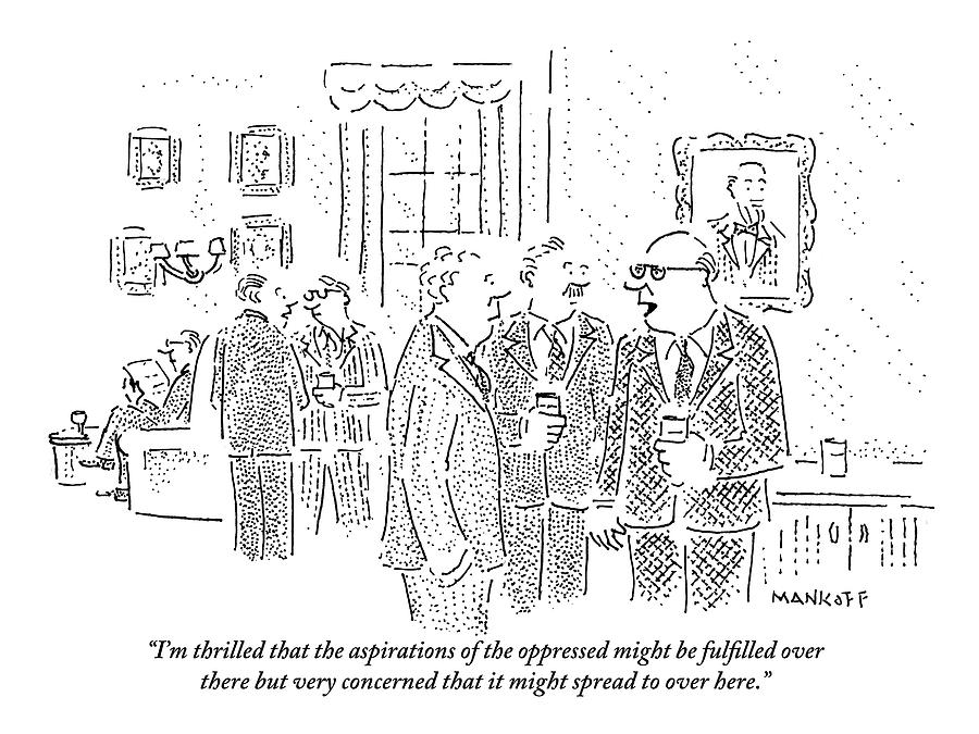 Rich People Drawing - Rich Men In A Glamorous Mens Club Discuss by Robert Mankoff
