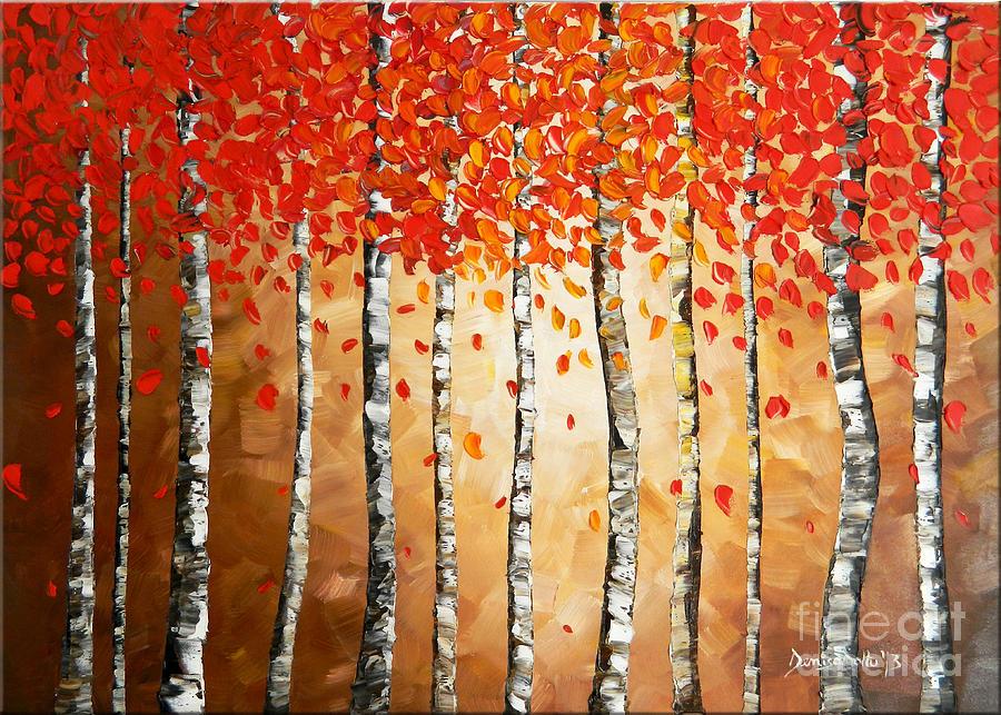 Original Painting - Rich Trees by Denisa Laura Doltu