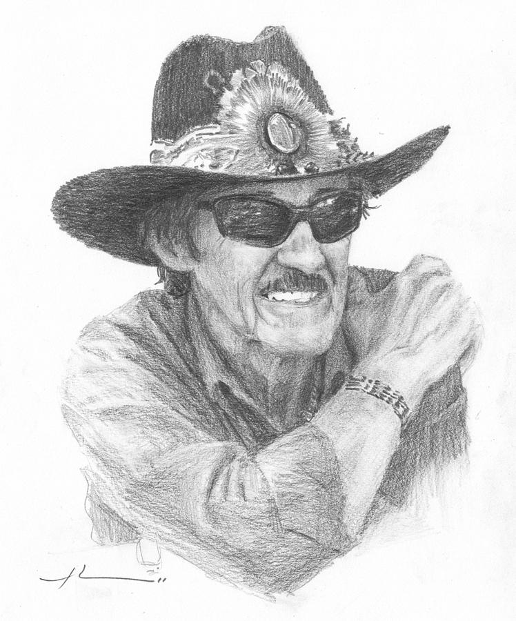 Richard Petty Pencil Portrait Drawing by Mike Theuer