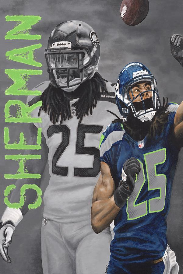 Seahawks Painting - Richard Sherman by Dustin Handy