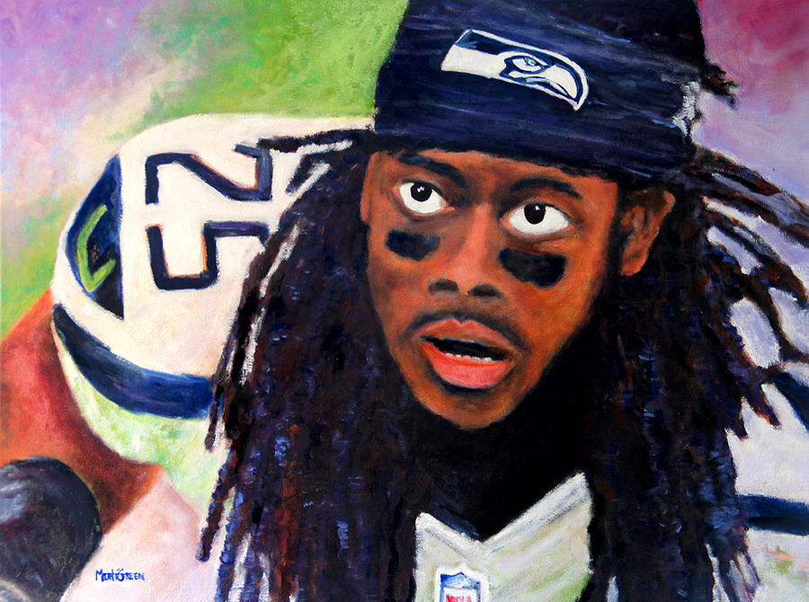 Seattle Seahawks Painting - Richard Sherman by Marti Green