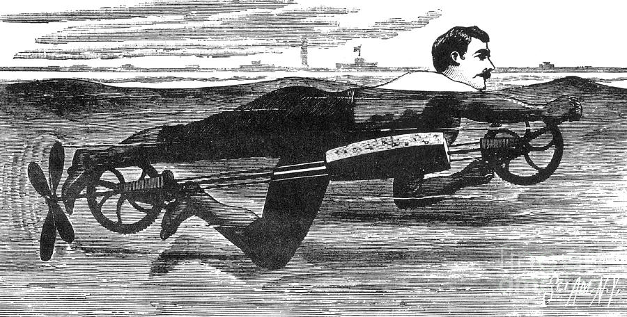 Science Photograph - Richardsons Swimming Device 1880 by Science Source