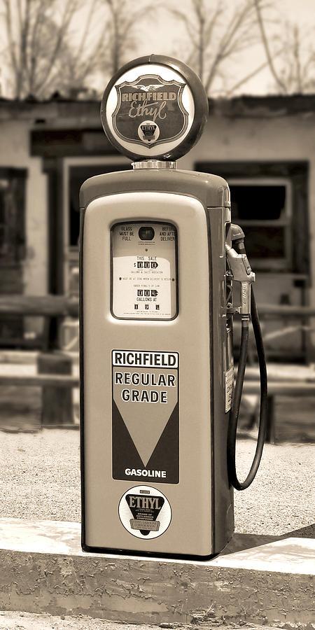 Richfield Photograph - Richfield Ethyl - Gas Pump - Sepia by Mike McGlothlen