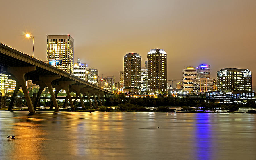Richmond Virginia Photograph - Richmond Virginia From The James River At Night by Brendan Reals