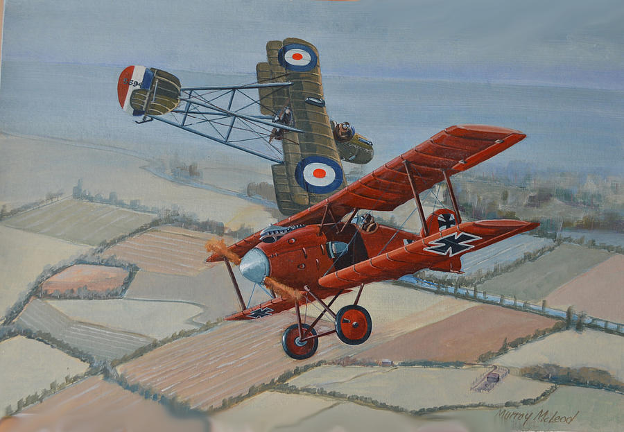 Richtofen And Hawker Combat Painting by Murray McLeod