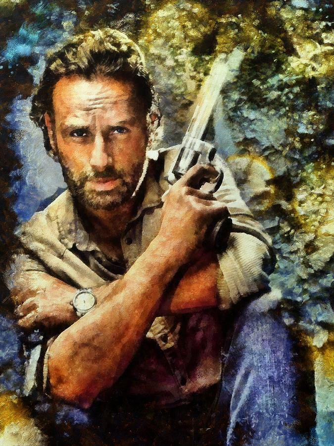 The Walking Dead Painting - Rick Grimes by Janice MacLellan