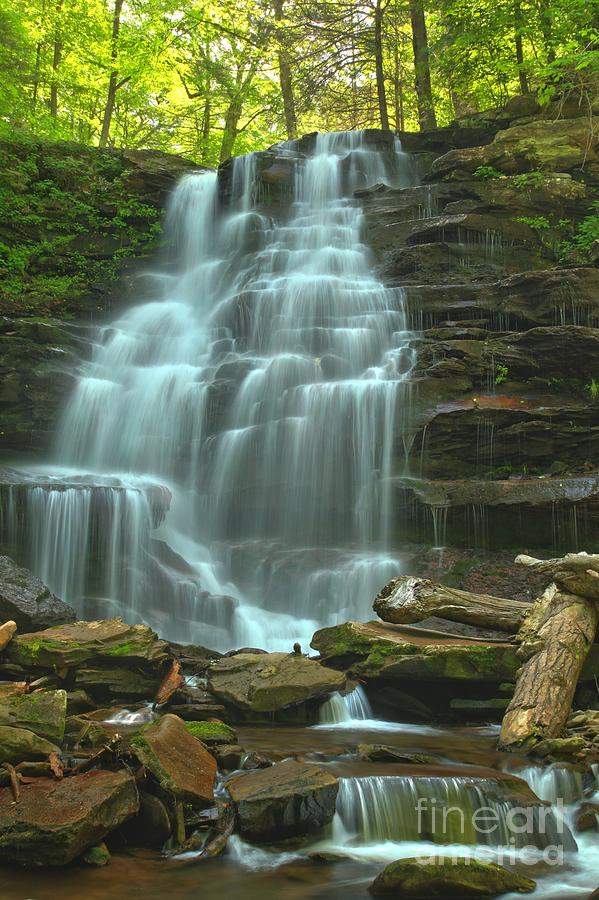 Ricketts Glen Photograph - Ricketts Glen Cascading Falls by Adam Jewell