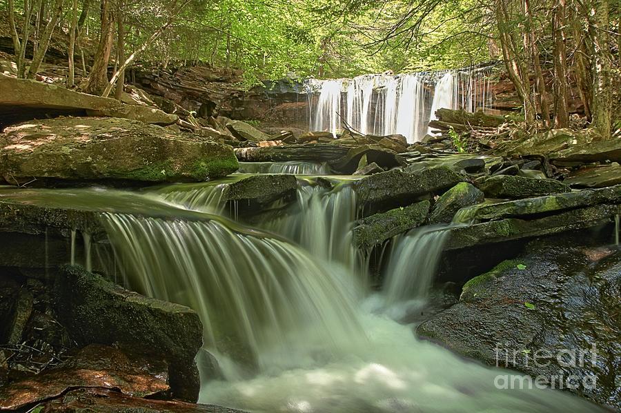 Ricketts Glen Photograph - Ricketts Glen Waterfall Cascades by Adam Jewell