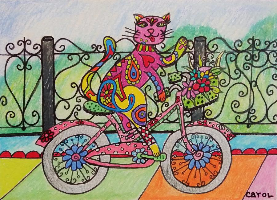 Bicycle Drawing - Ride Kitty Ride by Carol Hamby