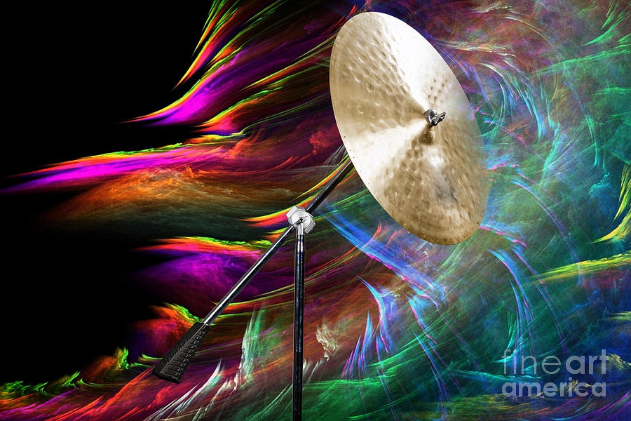 Ride Cymbal Photograph - Ride Or Suspended Cymbal In Color 3241.02 by M K Miller