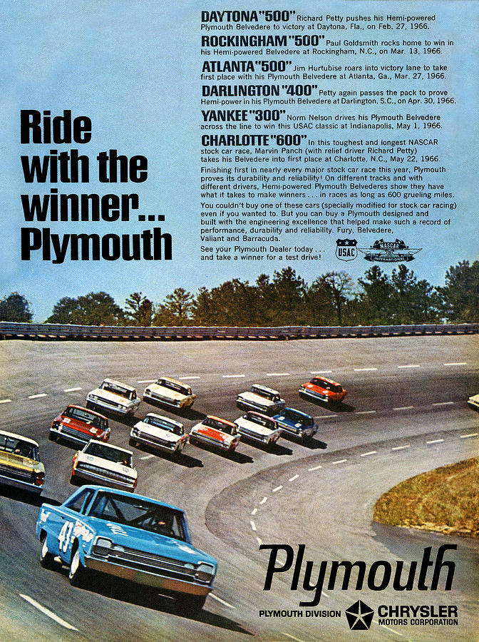 Ride Digital Art - Ride With The Winner... Plymouth by Digital Repro Depot