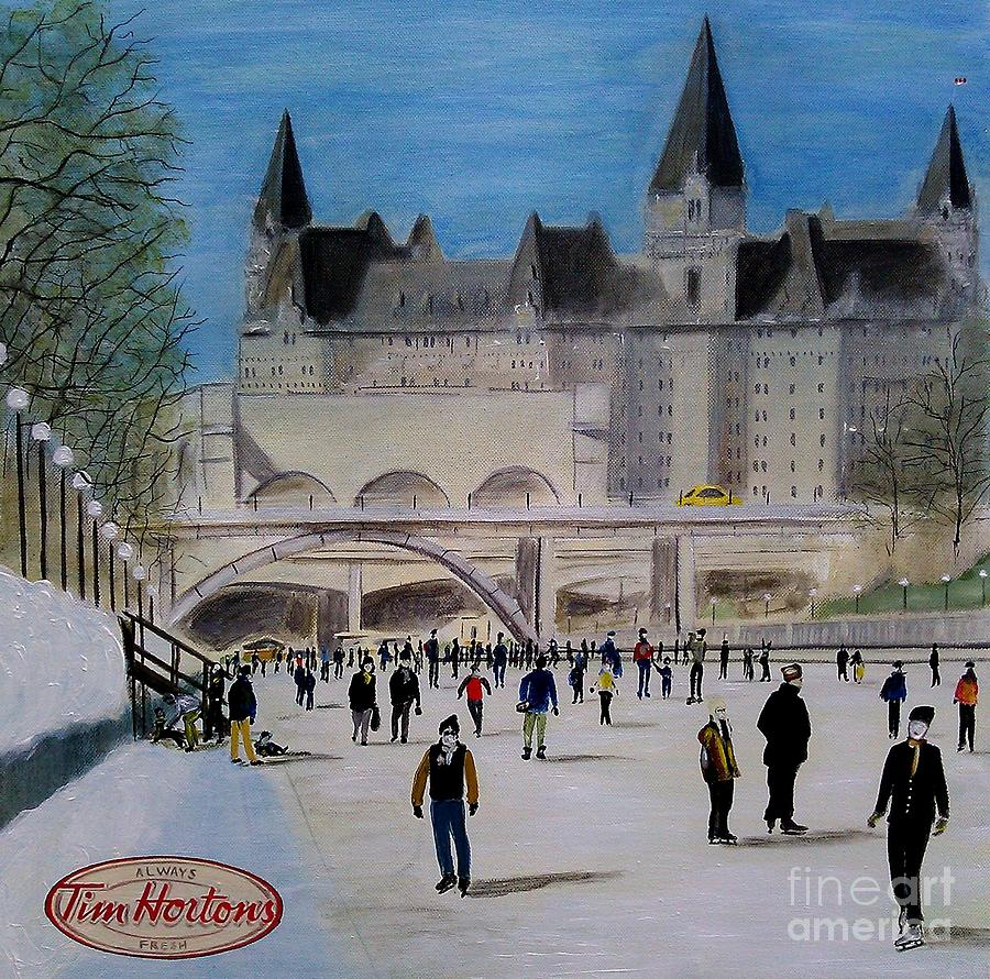 Tim Hortons Painting - Rideau Canal Winterlude by John Lyes