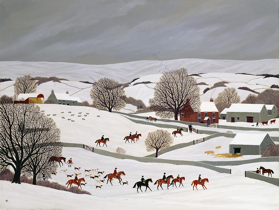 Hounds Painting - Riding In The Snow by Vincent Haddelsey
