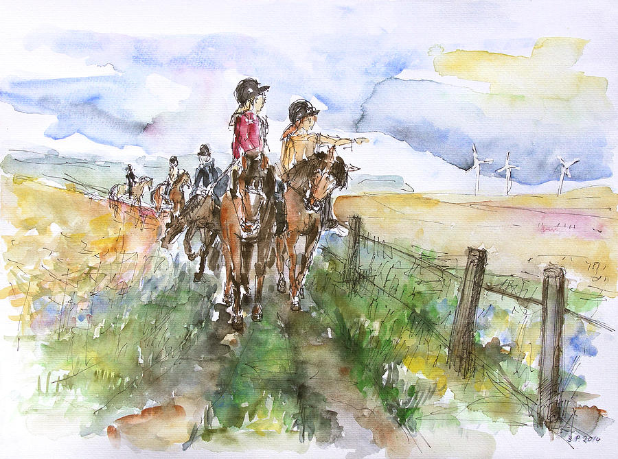 Horse Painting - Riding Out by Barbara Pommerenke