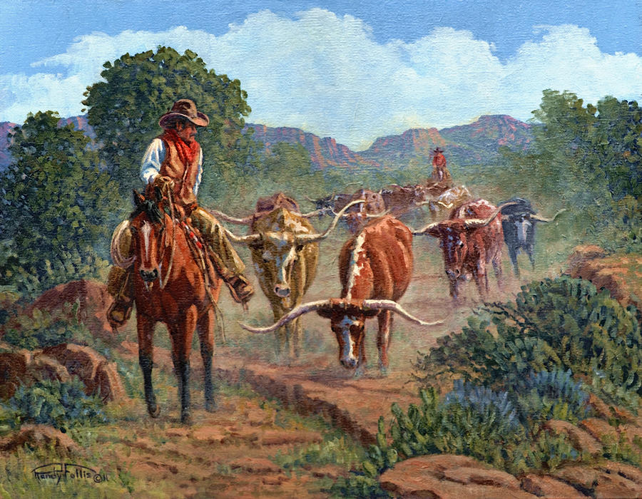 Cowboy Painting - Riding Point by Randy Follis