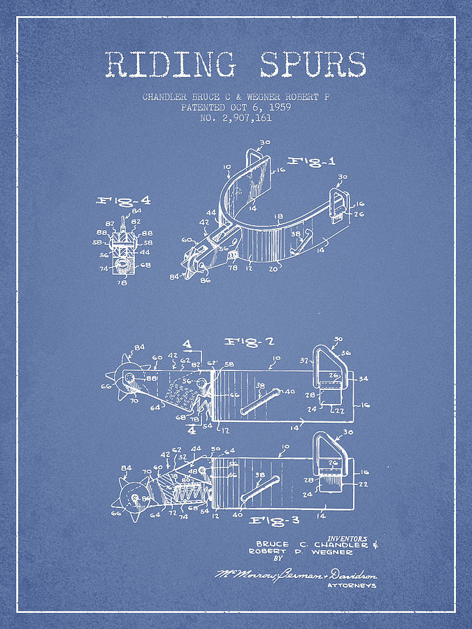 Riding Spurs Patent Drawing From 1959 - Light Blue Digital Art