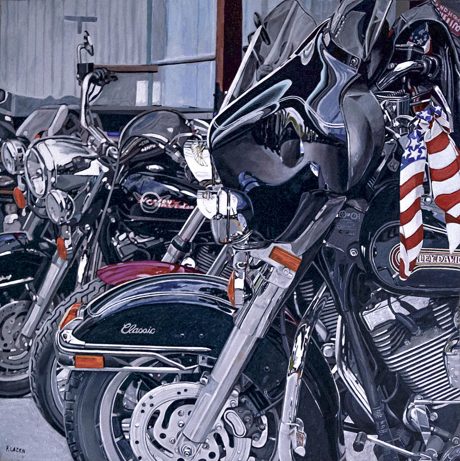 Motorcycles Painting - Riding With The Colors by Patricio Lazen