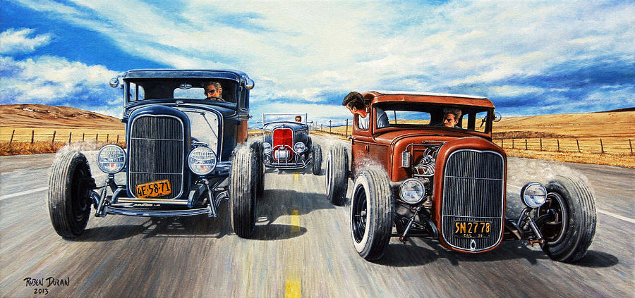 Hot Rod Painting - Riff Raff Race 3 by Ruben Duran