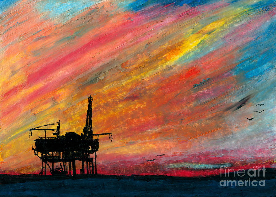 Rig At Sunset Painting by R Kyllo