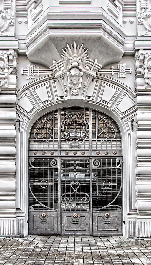 Door Photograph - Riga Art Nouveau District 03 by Antony McAulay