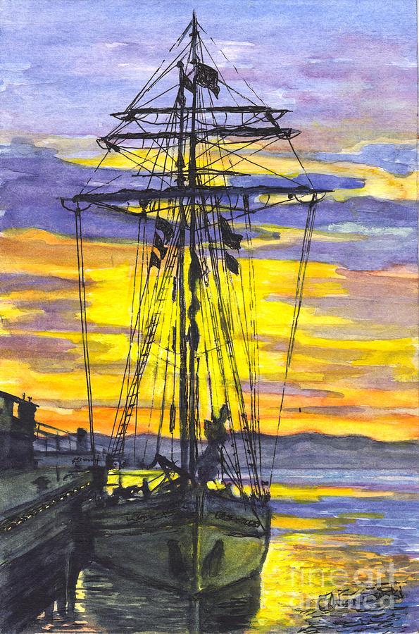 Sunset Painting - Rigging In The Sunset by Carol Wisniewski