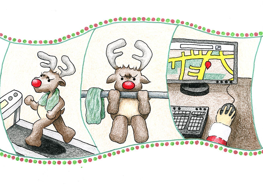 Training Reindeer Drawing - Right Before Xmas by Keiko Katsuta