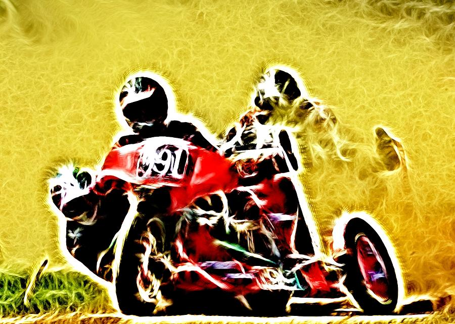 Grass Track Racing Photograph - Right Hand Sidecar Outfit by Sharon Lisa Clarke
