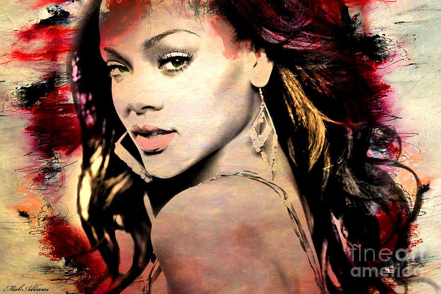 Rihanna Painting - Rihanna by Mark Ashkenazi