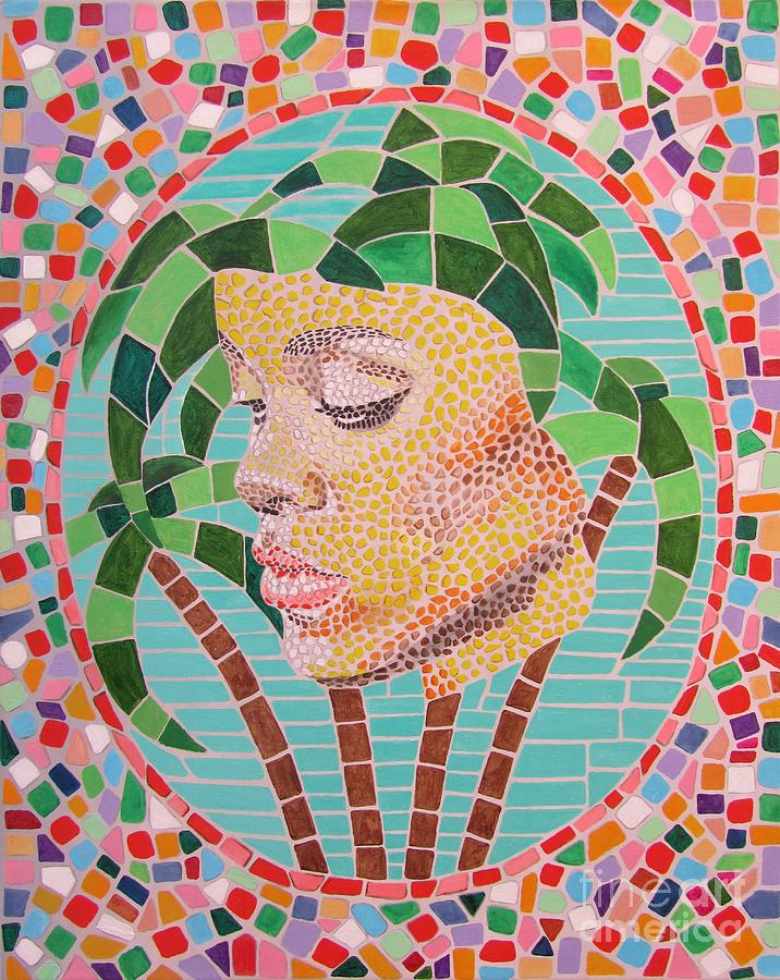 Rihanna Painting - Rihanna Portrait Painting In Mosaic  by Jeepee Aero
