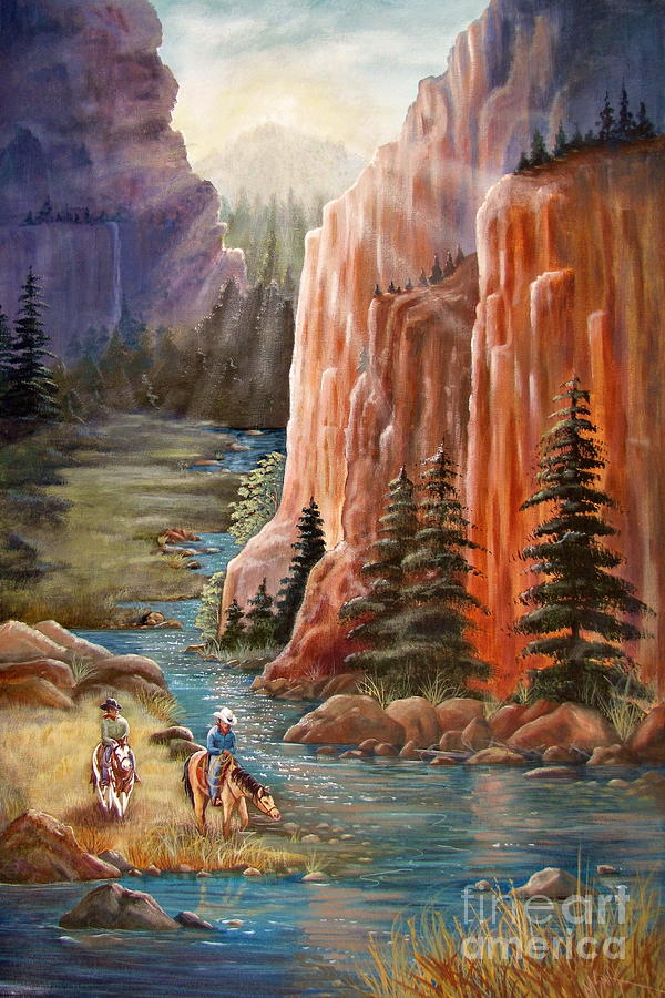 Western Painting - Rim Canyon Ride by Marilyn Smith