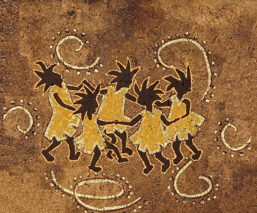 Kokopelli Painting - Ring-around-the Rosie by Katherine Young-Beck