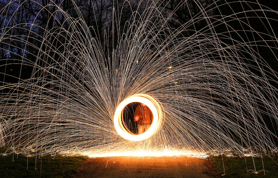 Light Painting Photograph - Ring Of Fire by Anna-Lee Cappaert
