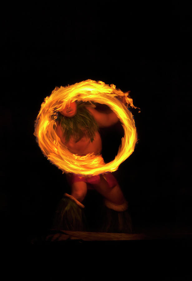 Samoan Fire Knife Dancer Photograph - Ring Of Fire by Mike  Dawson