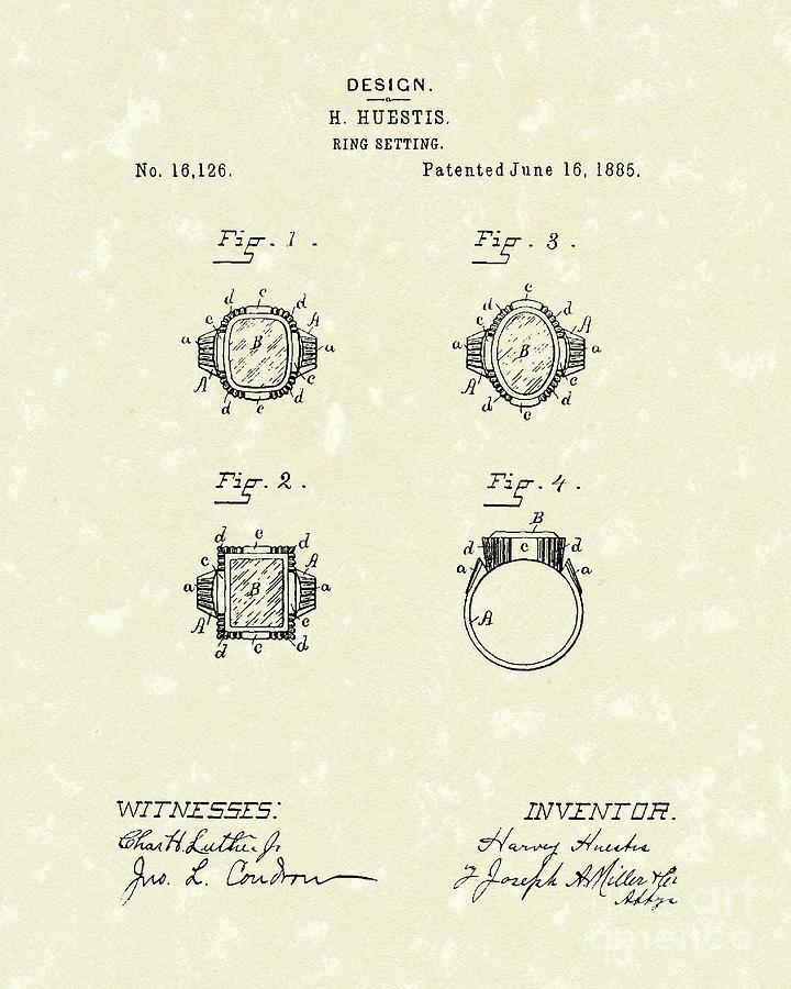Huestis Drawing - Ring Setting 1885 Patent Art by Prior Art Design