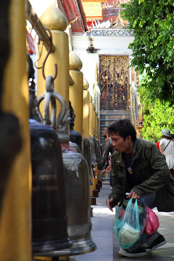 Chiang Photograph - Ringing Of The Bells - Wat Phrathat Doi Suthep - Chiang Mai Thailand - 01131 by DC Photographer