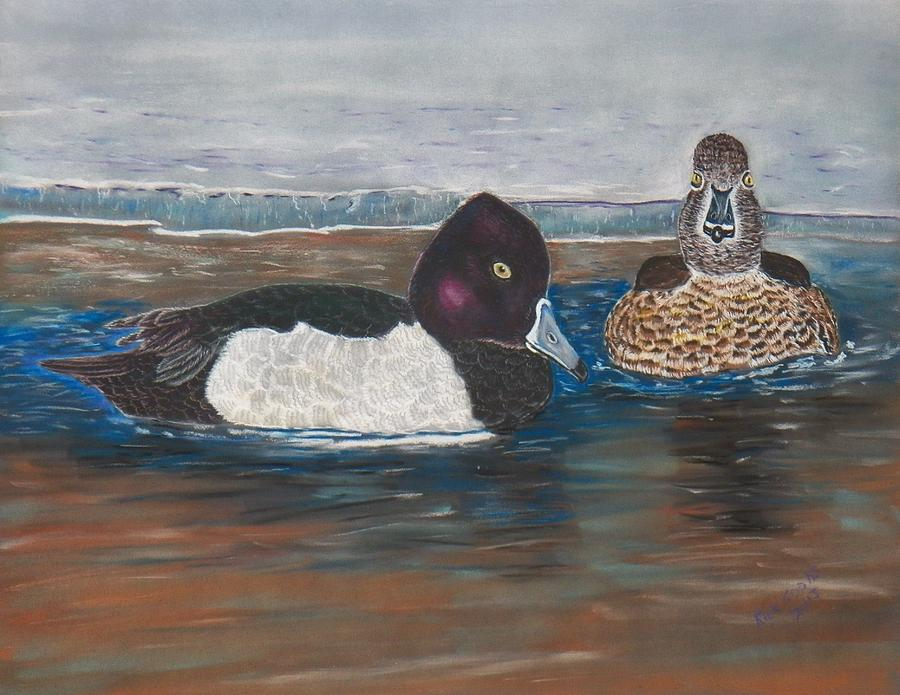 A Pair Of Ringneck Ducks  On A Partialy Frozen Lake. Pastel - Ringnecks On Ice by Richard Goohs