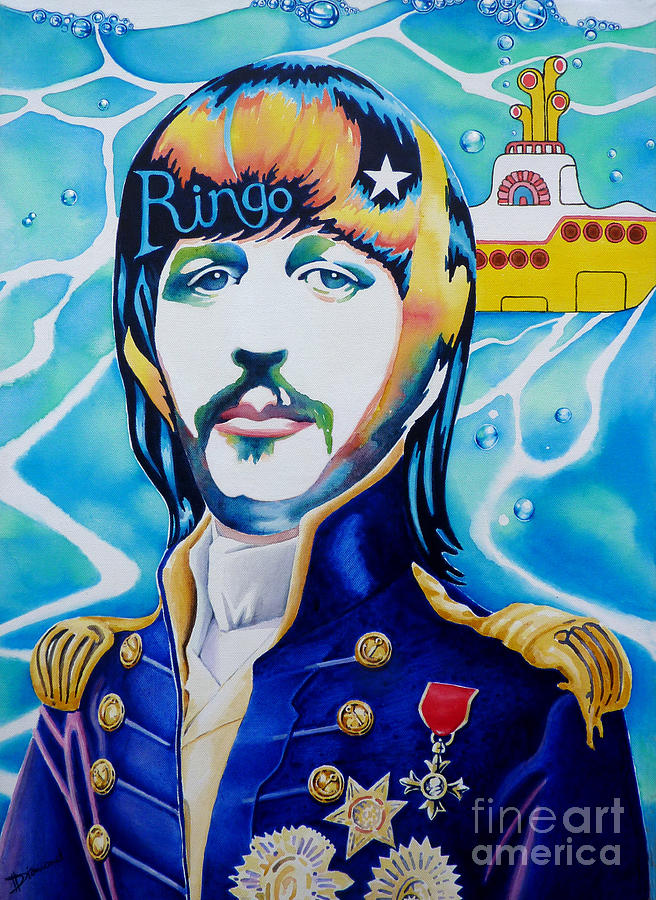 Ringo Beatles Yellow Submarine Sea Naval Marine Mariner Bubbles Medals Psychedelic Painting - Ringo by Debbie  Diamond